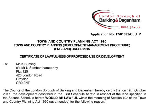 Barking Planning Approval letter