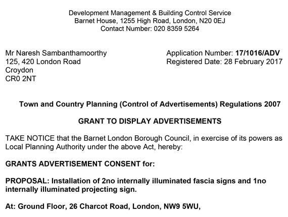 Barnet Planning Approval letter
