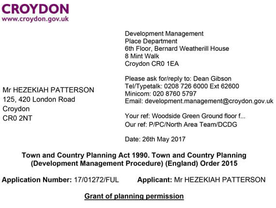 Croydon Planning  – Approval letter