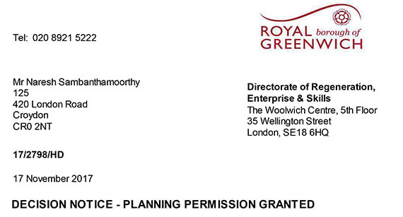 Greenwich Planning Approval letter
