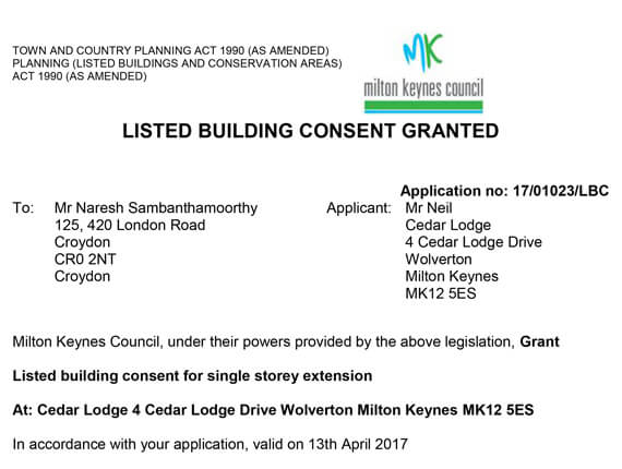 Milton Keynes Listed building consent