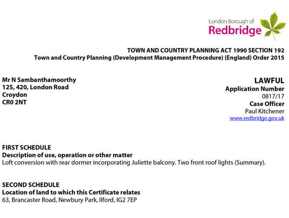 Redbridge Planning  - Approval letter
