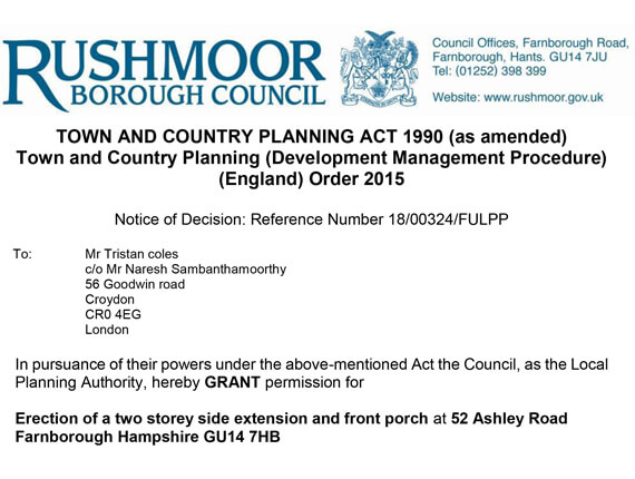 Rushmoor Planning Approval letter
