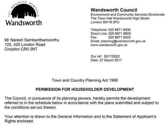 Wandsworth – Approval letter