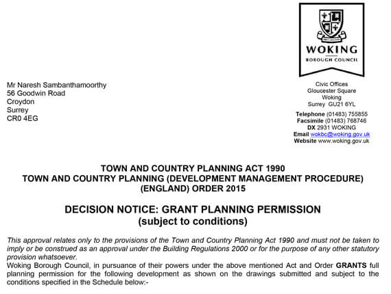 Woking Planning Approl letter