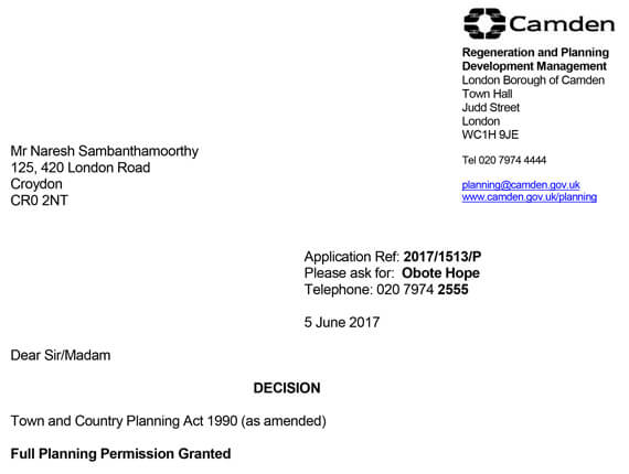 Camden Planning  - Approval letter