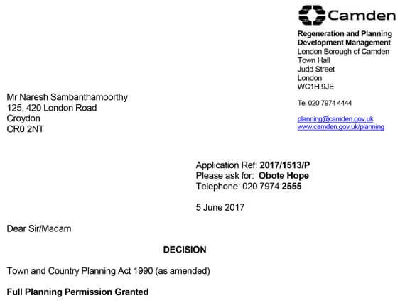 Camden Planning  – Approval letter