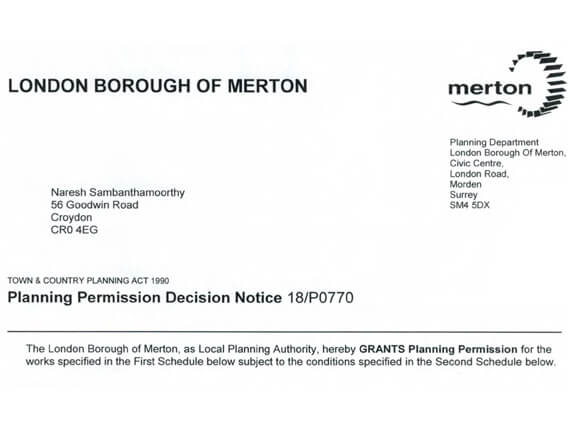 Merton Planning Approval letter