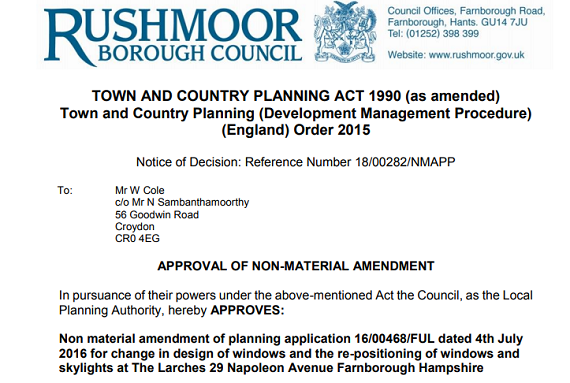 15 Rushmoor Planning Approval letter