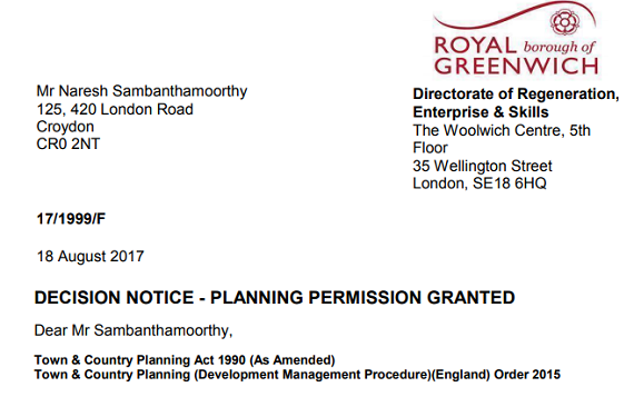 10Greenwich Planning Approval letter